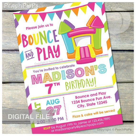 Bounce House Pink Birthday Invitation Bounce And Play Bouncy House Inflatable Jum Bouncy House Invitations Bounce House Party Invitations Bounce House Birthday