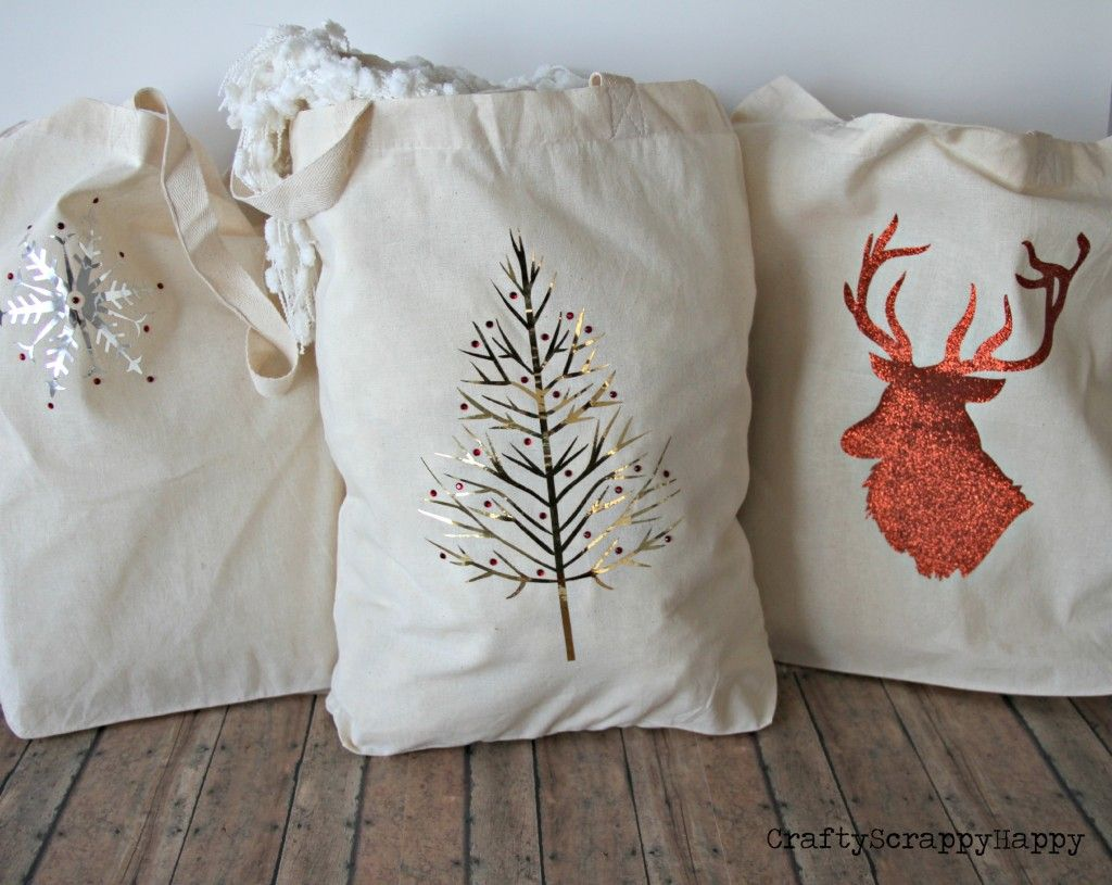 Diy Fabric Christmas Gift Bags Via Craftyscrappyhappy