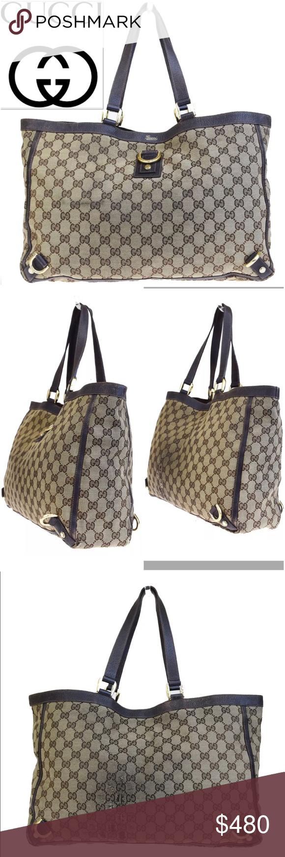 5dd4bfa194 GUCCI GG Shoulder Tote Canvas Leather Brown Bag Gucci GG Monogram Large Tote  Canvas Leather