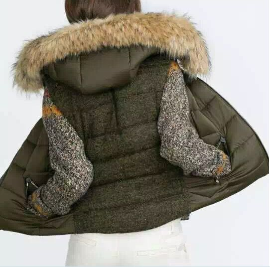 2015 Winter Fashion Vrouwen Faux fur Hooded Gewatteerde Vest Back Gebreide Patchwork Mouwloze Gewatteerde Jas Jas Met zakken