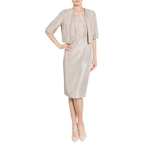 6bb3cb38e4a Buy Gina Bacconi Embroidered Mesh Dress And Jacket, Oyster Online at  johnlewis.com