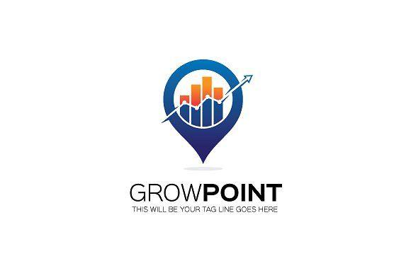 Grow point logo template by Mudassir101 on creativemarket, premade - business finance spreadsheet template