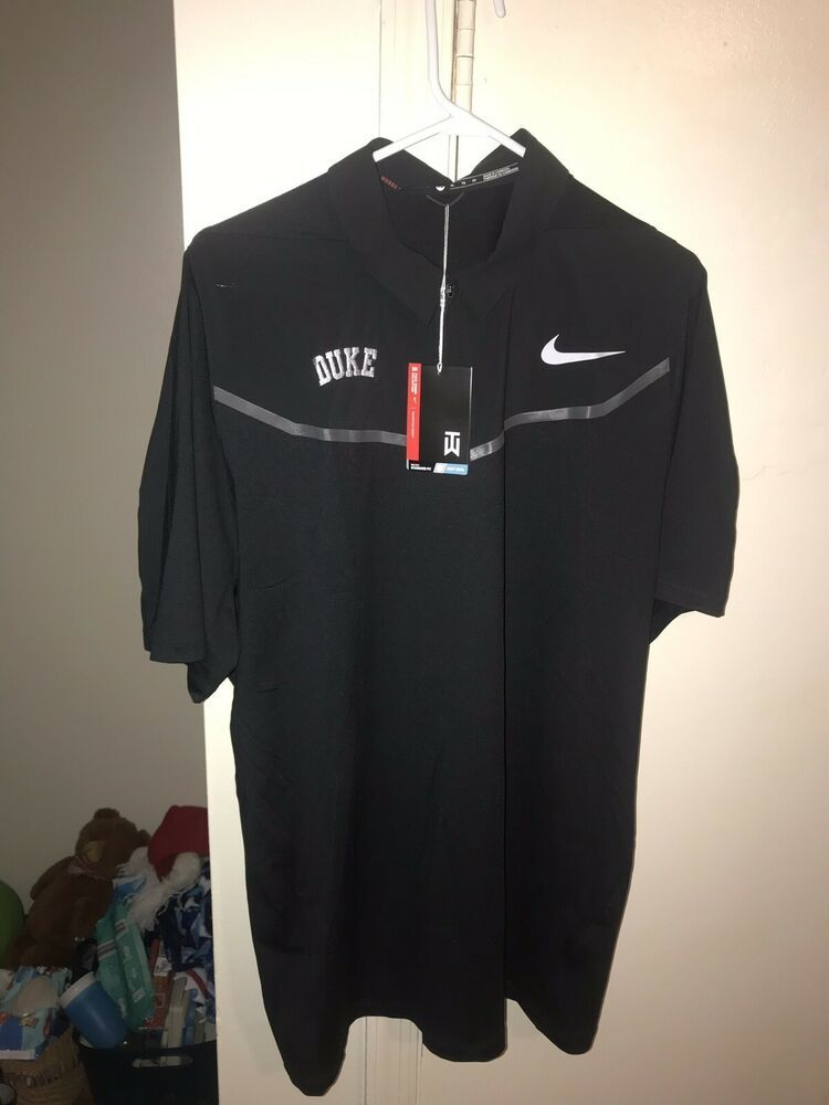 27224f6b8 Tiger Woods Collection Duke Nike Golf Dri Fit Black Polo XL Nike Flex  Fabric #fashion