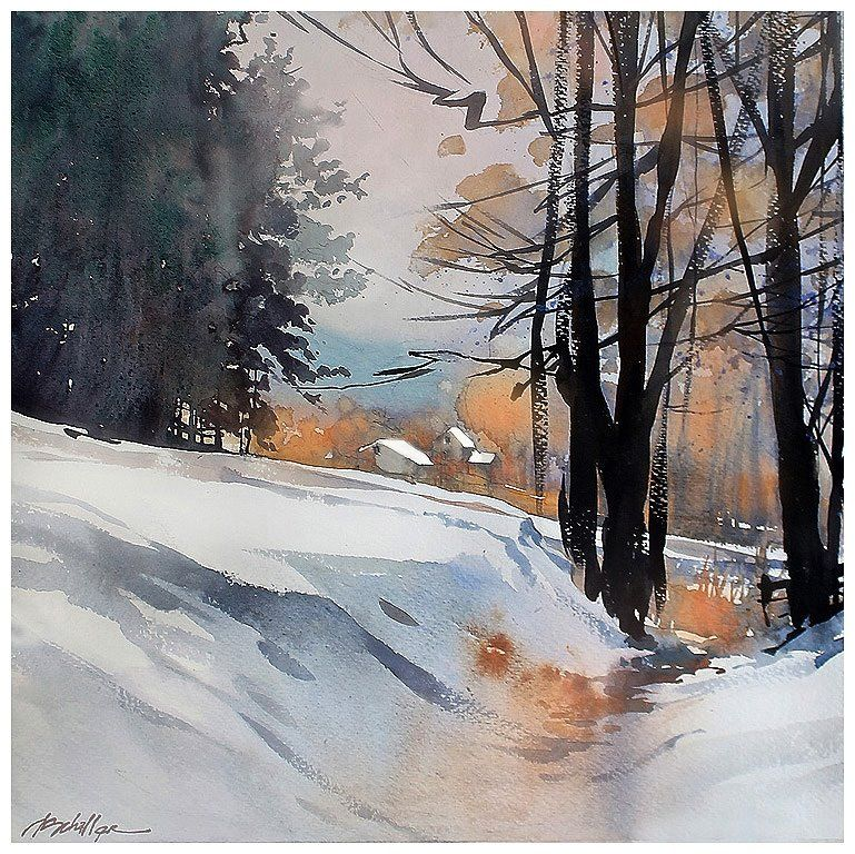 """winter-ohio"" thomas w schaller watercolor 22x22 inches 25 january 2014"