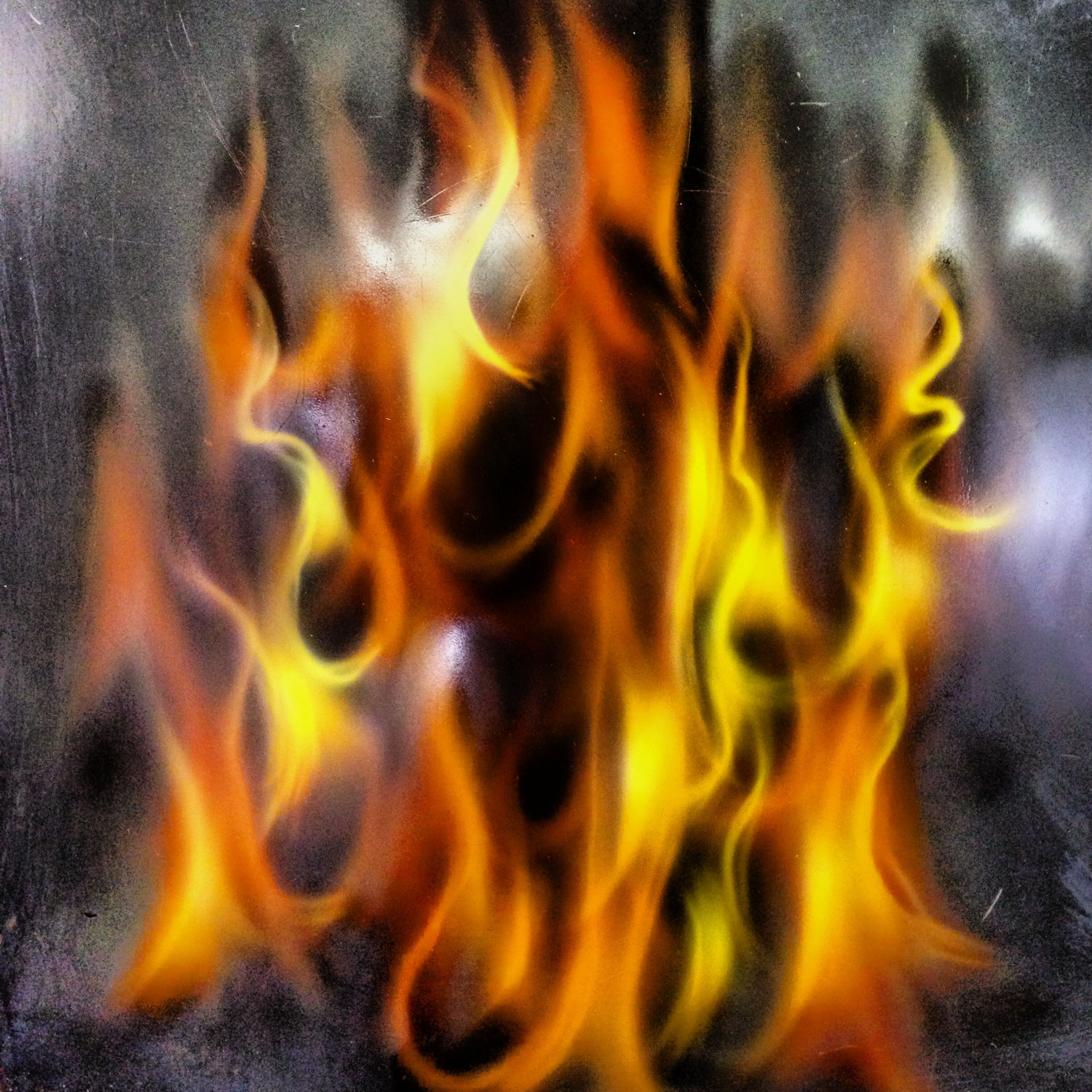 Airbrushed flames on metal Custom art Pinterest