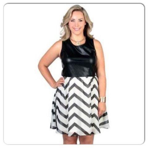 NEW COLOR BLOCK FAUX LEATHER TOP CHEVRON PRINT FLARE DRESS SIZE MEDIUM