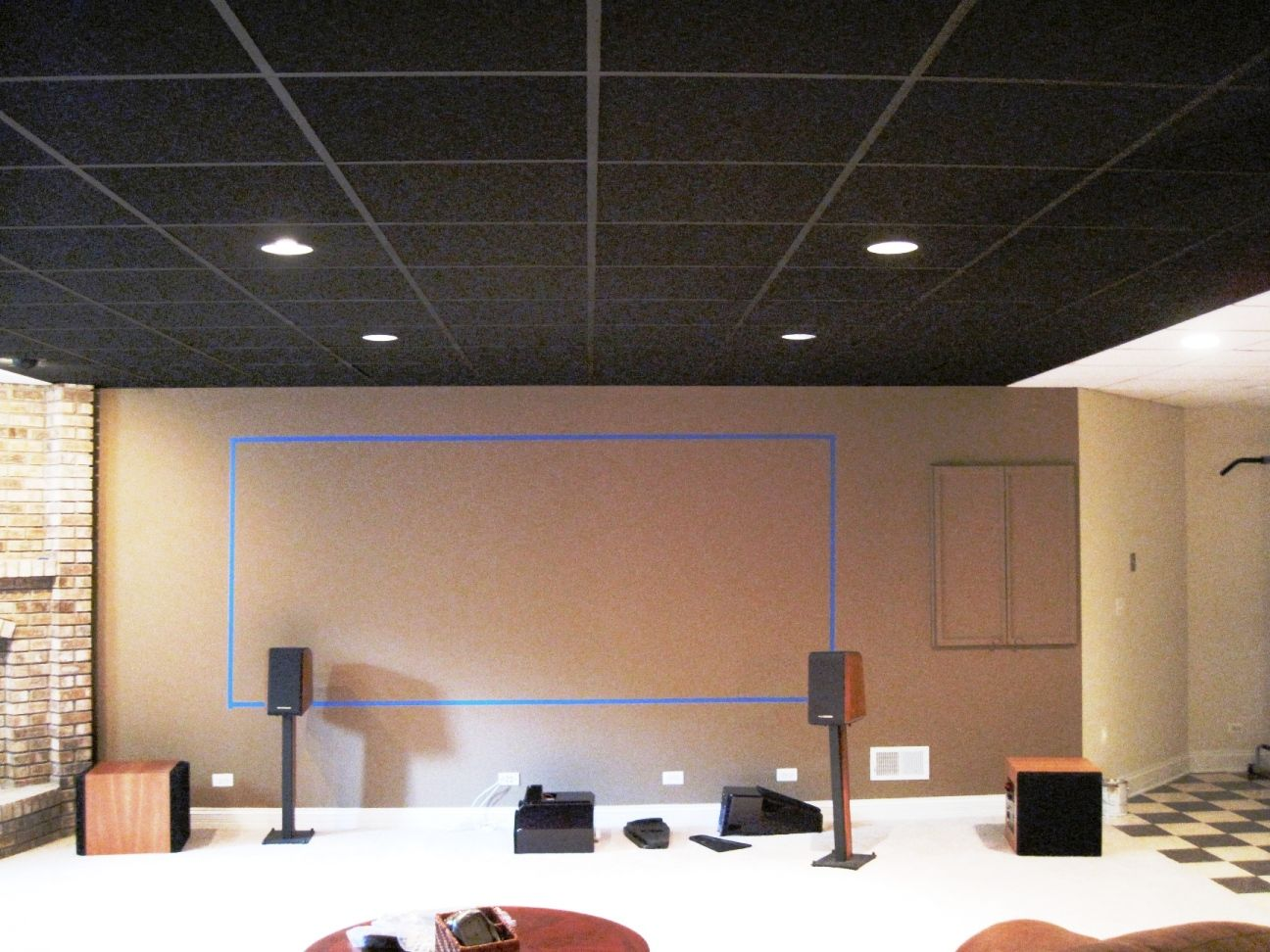 Black ceiling tiles with tan walls inside the blue painters tape black ceiling tiles with tan walls inside the blue painters tape ceiling tiles paintedpainted ceilingsdrop dailygadgetfo Image collections