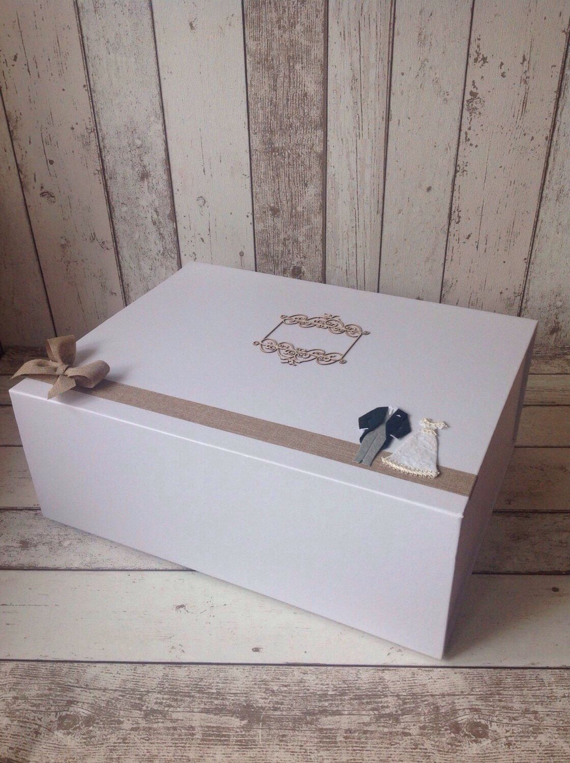 Extra Large Wedding Keepsake Box Matt White With Magnetic Closure