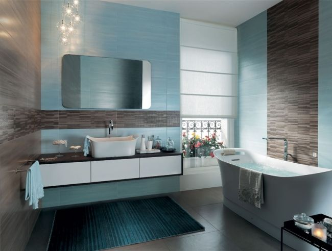 Badezimmer Fliesen Fap Ceramiche Blau Braun Schwebender Unterschrank