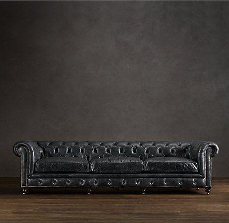 kensington leather sofa restoration hardware black sectional with nailhead trim home decor pinterest