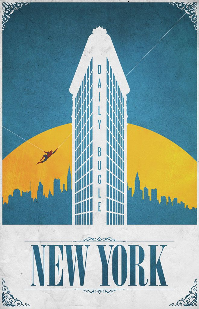 Superhero travel posters