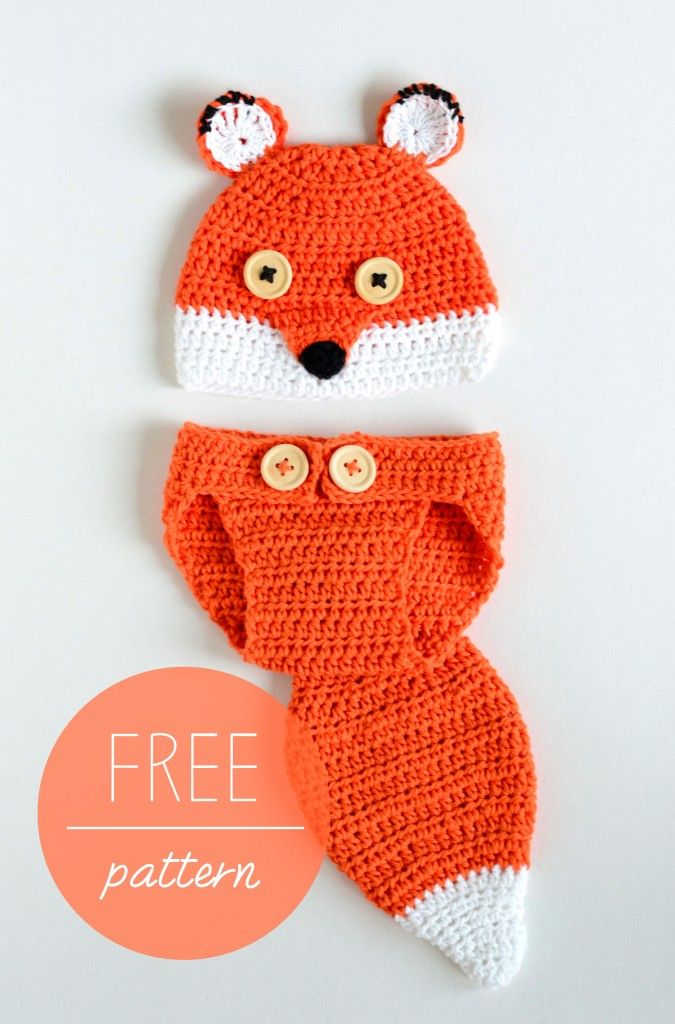 Croby Patterns | Crochet Baby Hat and Diaper Cover – Cute Fox | Baby ...