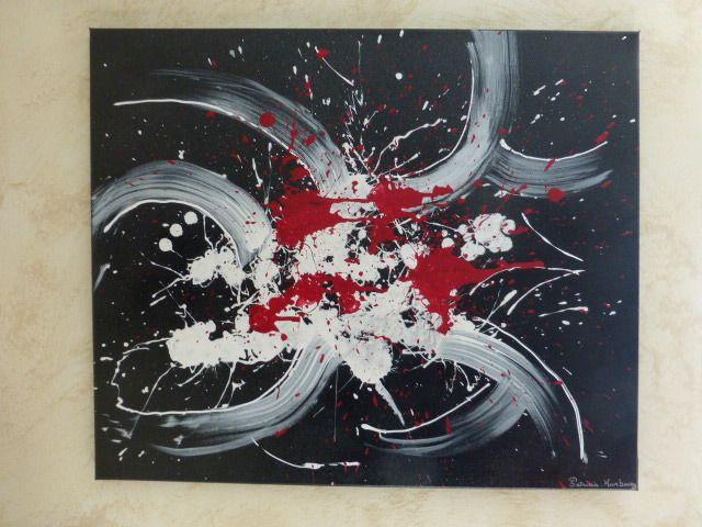 peinture abstraite réalisée sur toile coton avec une peinture