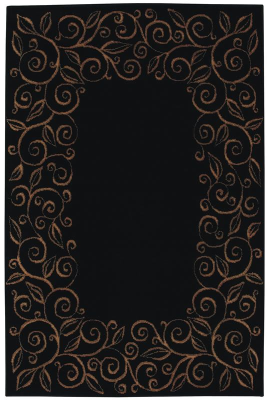 Black And Tan Area Rugs accents collection chateau ebony black contemporary tan floral
