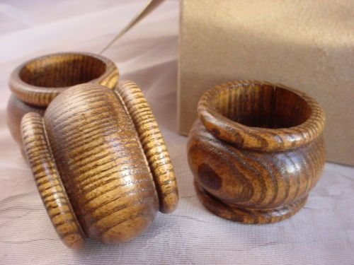 12 Vintage Wooden Napkin Rings 1970's 1980's Wood NEW in Box