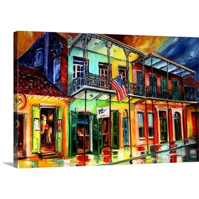 "Canvas On Demand 'Down on bourbon Street' by Diane Millsap Painting Print on Canvas Size: 20"" H x 30"" W x 1.25"" D"