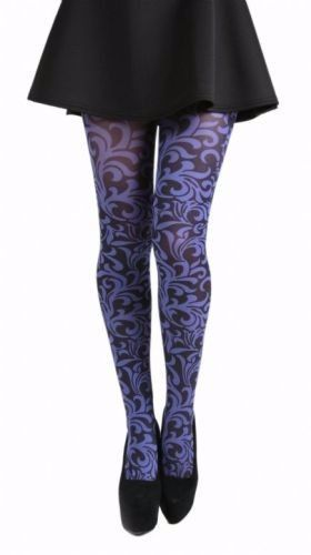 floral PRINTED TIGHTS FLO PURPLE pamela mann | Floral, Stockings ...