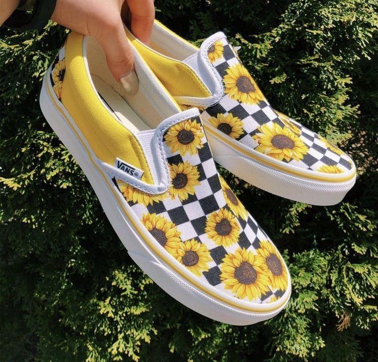 Custom Sunflower and Checkered Vans