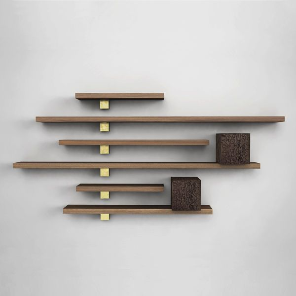 Original design wood wall shelf IL PEZZO 5 CABINETS AND