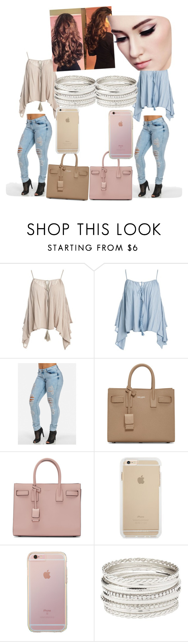 """""""twins"""" by rubybaby1010 ❤ liked on Polyvore featuring beauty, Sans Souci, Yves Saint Laurent and Charlotte Russe"""