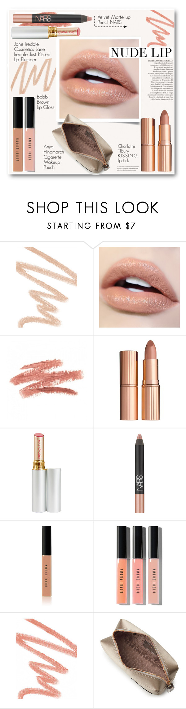 """""""Nude Lip"""" by annna-136 ❤ liked on Polyvore featuring beauty, NARS Cosmetics, Anja, Charlotte Tilbury, Bobbi Brown Cosmetics, Givenchy, Anya Hindmarch and nudelip"""