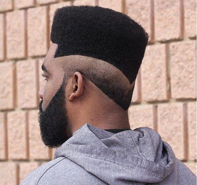 Flat Top + Dégradé inversé Coiffures pour homme noir et