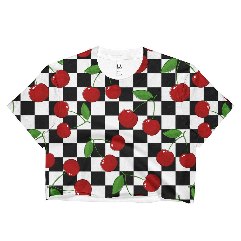 Cherry Checker Crop Top, Aesthetic Clothing, 90s Clothing, Festival Clothing, Hippie Clothing, Crop Top, Cherry, Checker, Festival, Hippie is part of Aesthetic Clothes Outfits - www gypsysoulvibes com