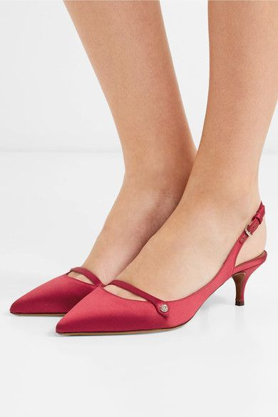 Tabitha Simmons Layton Crystal-embellished Satin Slingback Pumps - Claret 2018 New Cheap Price Store Sale Online Discount Best Prices Shipping Discount Authentic 2018 Newest Online UVXsDR3g
