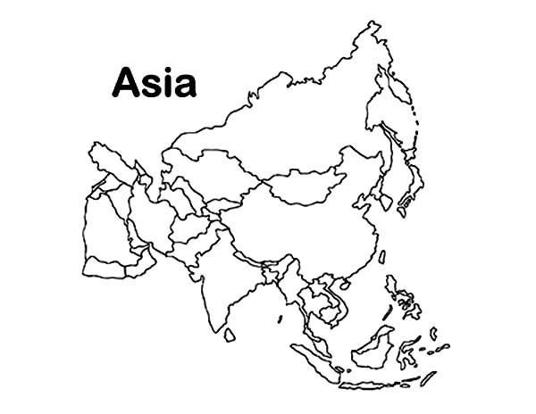 Asia With Countries Colouring Pages Asia Map World Map Coloring