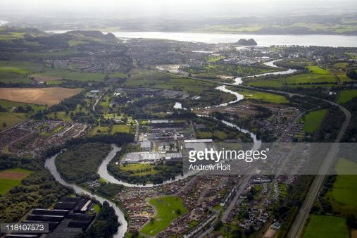 High Level Oblique Aerial Photography South Of River Leven Flowing Through Bonhill Renton And Dunbarton
