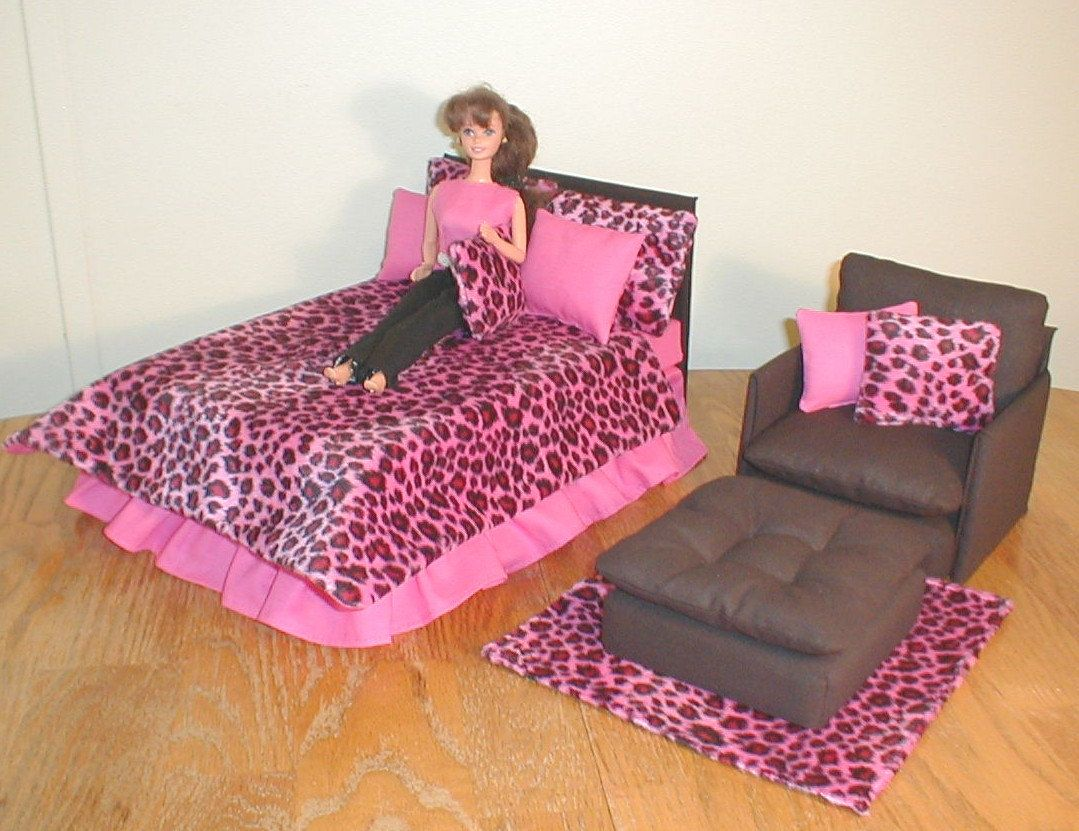 Cool Barbie Furniture Bed Set W Chair Hot Pink And Leopard Faux Bralicious Painted Fabric Chair Ideas Braliciousco