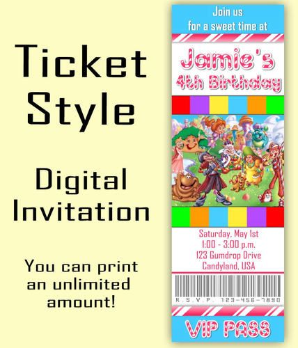 CANDY LAND Ticket Style Birthday Invitation