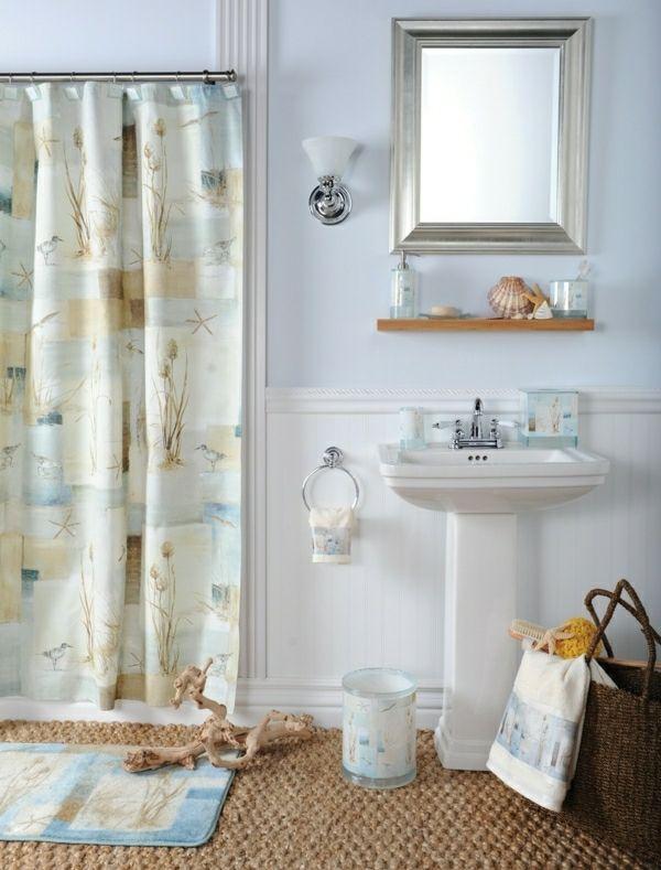 Badezimmer Gestaltung Maritim Muschel Deko Vorhang interior design
