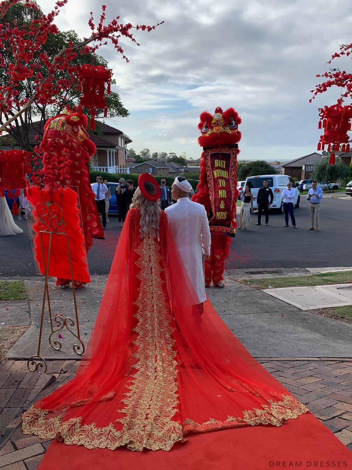 Red Ao Dai Cape Vietnamese Lace Bridal Ao Dai Cape (