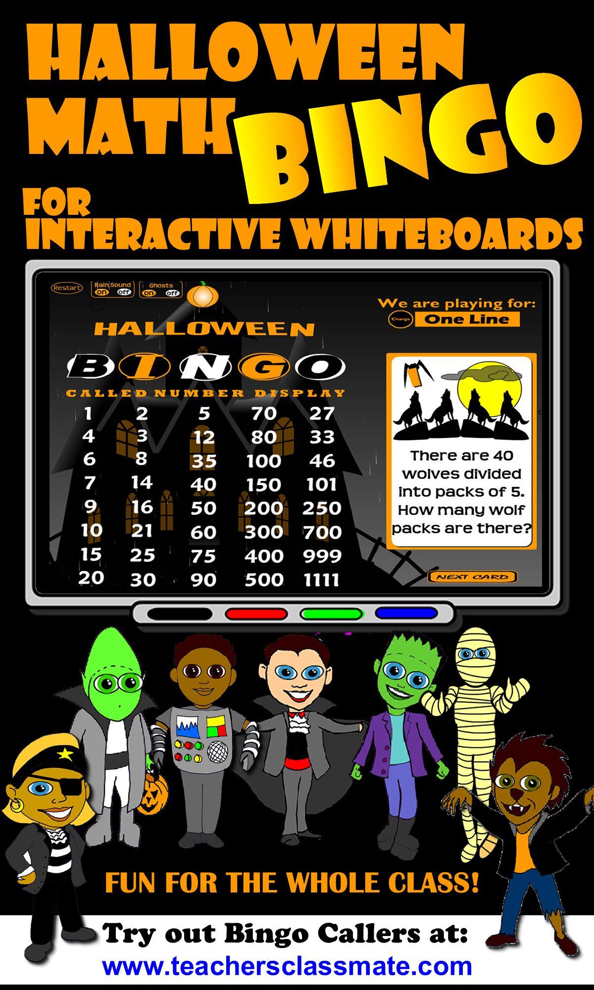 Halloween Math Bingo with Online Bingo Caller | Math bingo, Halloween math, Junior high math
