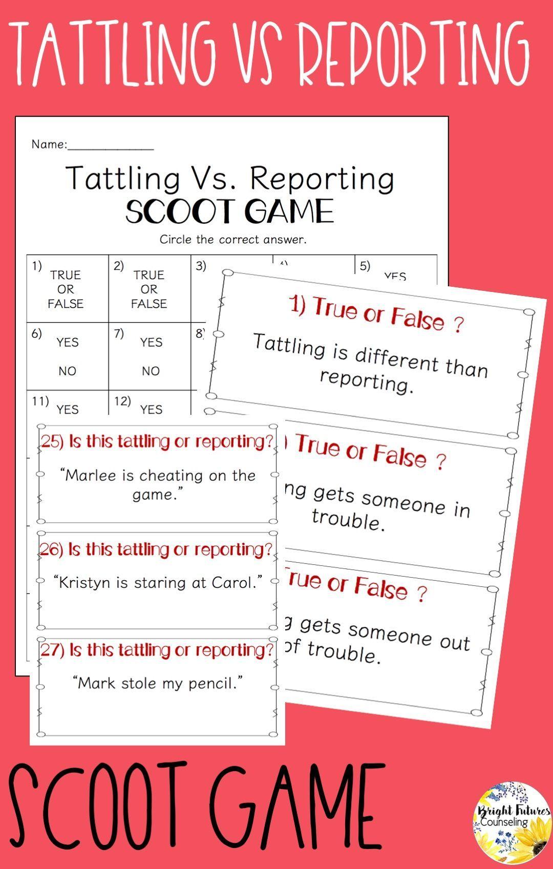 Tattling Vs Reporting Worksheet Printable Worksheets And Activities For Teachers Parents Tutors And Homeschool Families