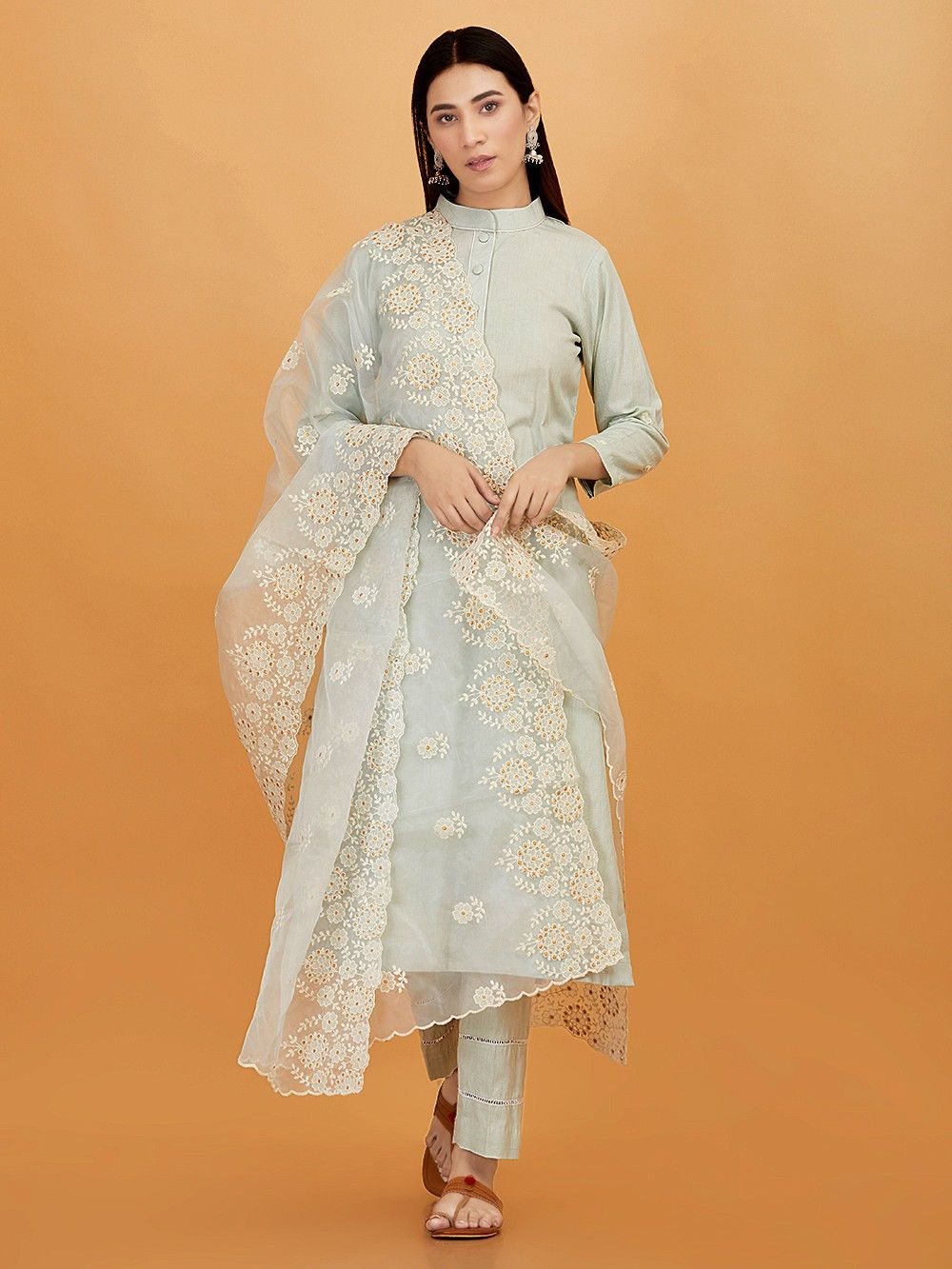 e4a19e658f Buy Pastel Blue Cotton Linen Kurta with Pants and Embroidered Organza  Dupatta - Set of 3 online at Theloom