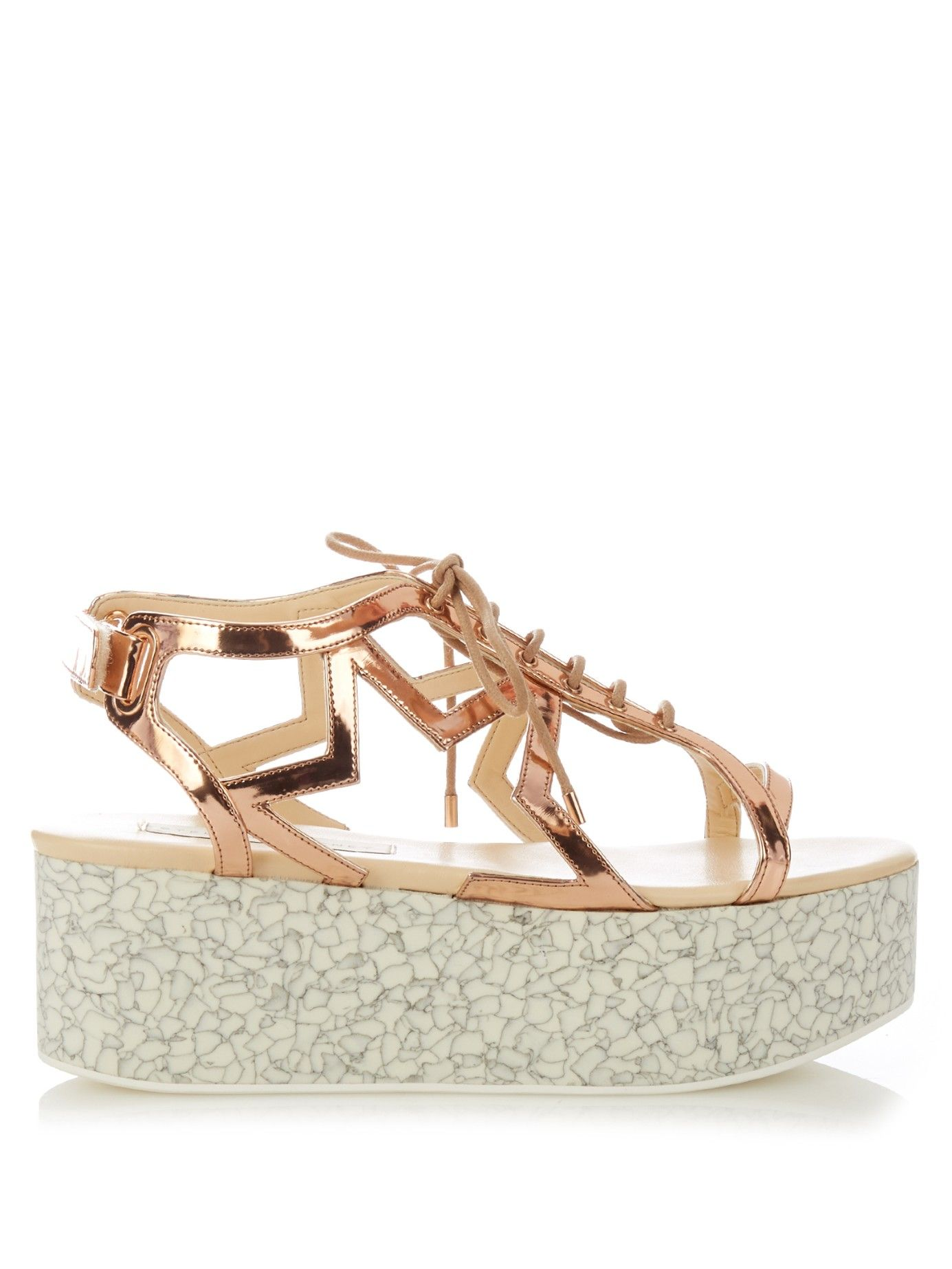 0895f8afdfdf Lucy metallic faux-leather flatform sandals