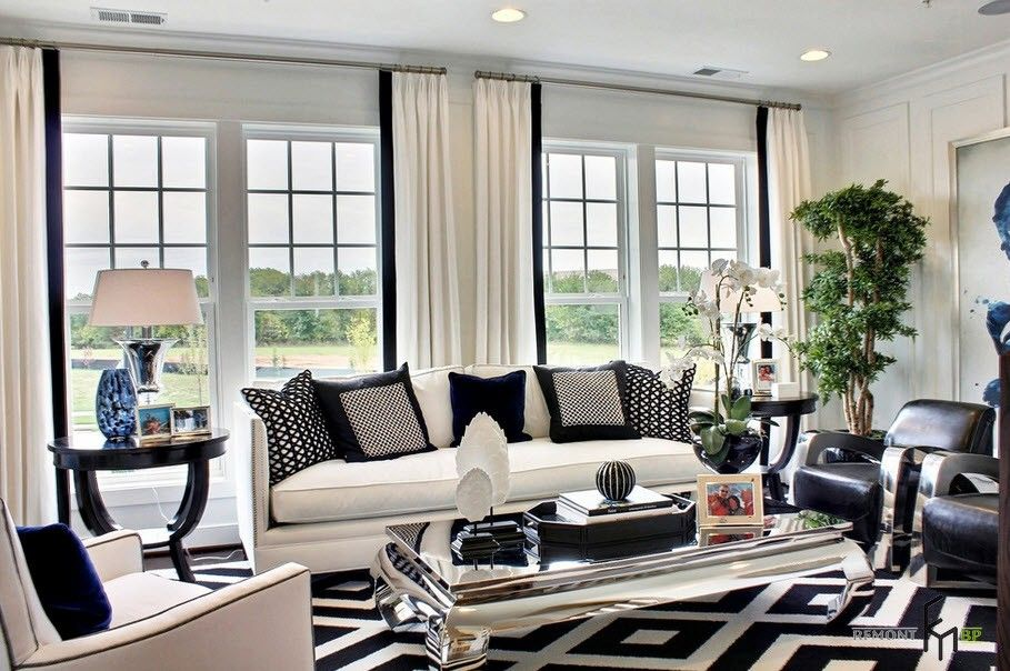 Fascinating black and white curtain wide glass window in fabulous living room design nice contemporary black
