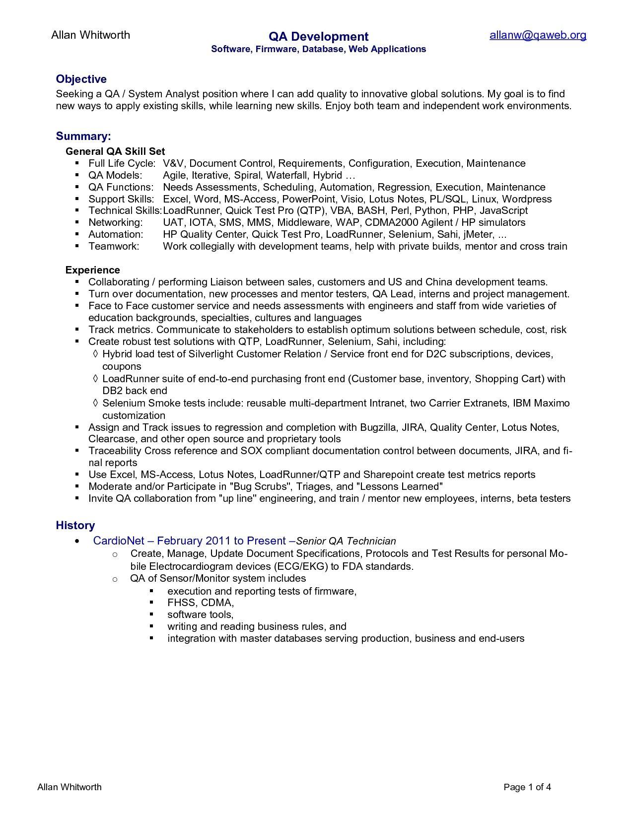 Quality Assurance Pharma With Images Job Resume