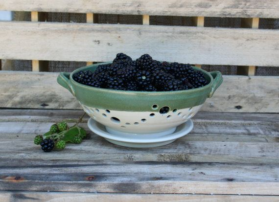 Green and White Stoneware Berry Bowl  Colander by MovingMudPottery, $45.00