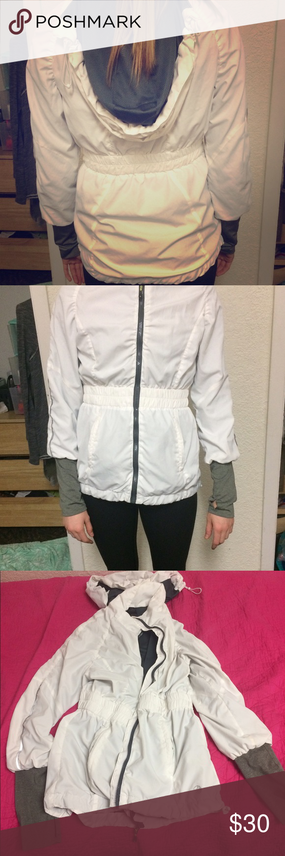 White jacket in great condition!! White with gray inside and sleeves wind breaker/rain jacket type of coat! Looks super cute when running, going outside, or for a cute sporty look! Got several compliments on it but have just had it for awhile so looking for a change! ☂️ MPG Jackets & Coats