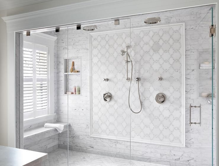 Fixed To Marble Mosaic Accent Tiles Framed By Thin Staggered Marble Wall Tiles A Polished Nickel Exposed White Bathroom Tiles Shower Niche Custom Tile Shower