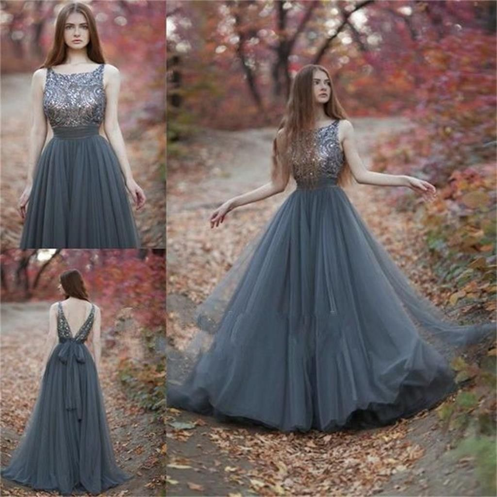 Charming V Back Tulle Gray Popular Pretty Evening Long Prom