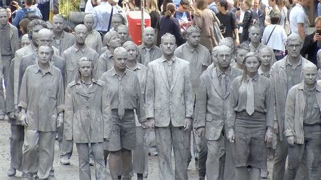 100s Of Clay Figures Walk Zombie Like Through Hamburg In G20 Protest Statue Greek Statue Language News