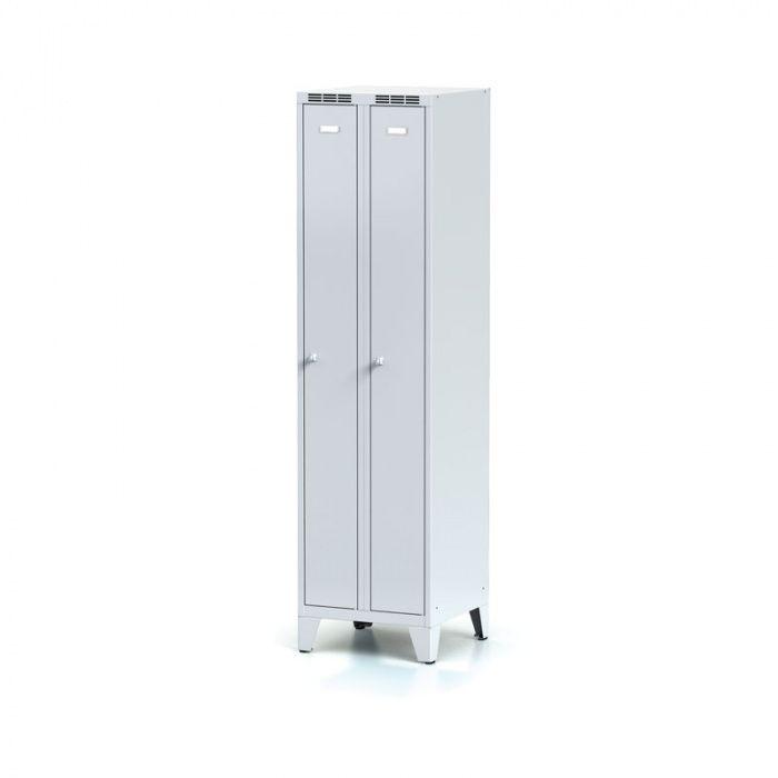 Narrowed metal wardrobe on legs, gray door, cylindric …
