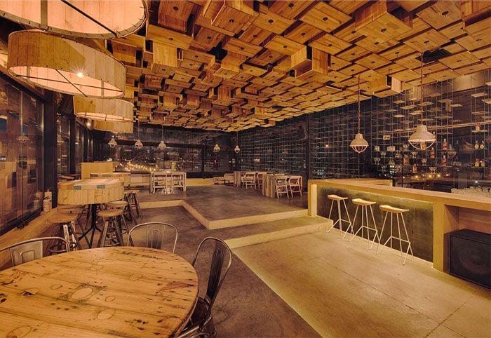 Exclusive Wooden Decor Rooftop Bar Restaurant Open Kitchen