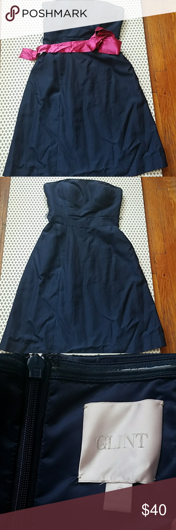 Glint navy strapless dress strapless dress pink ribbons and navy