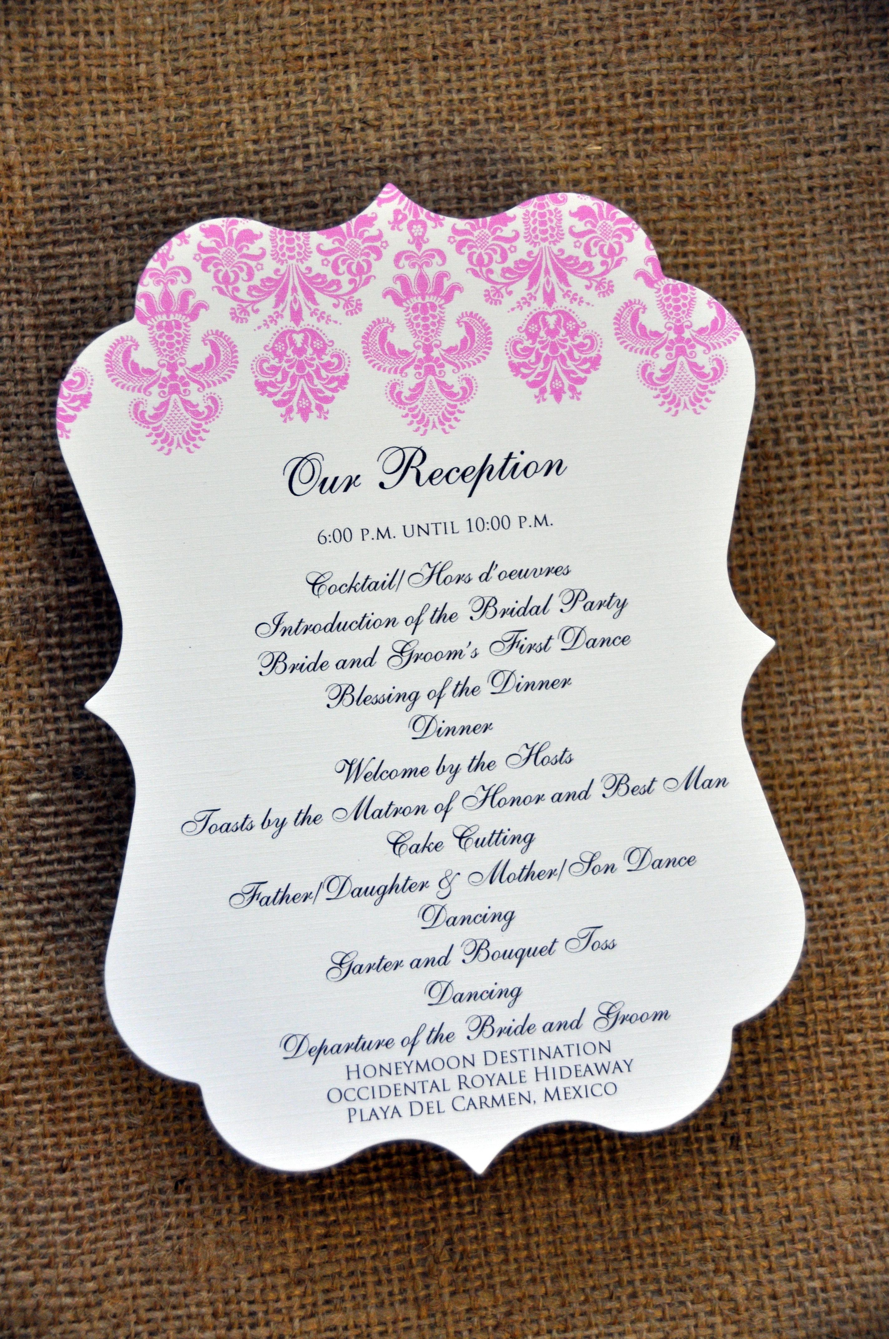 sample reception program | Wedding Bells | Pinterest | Programming ...