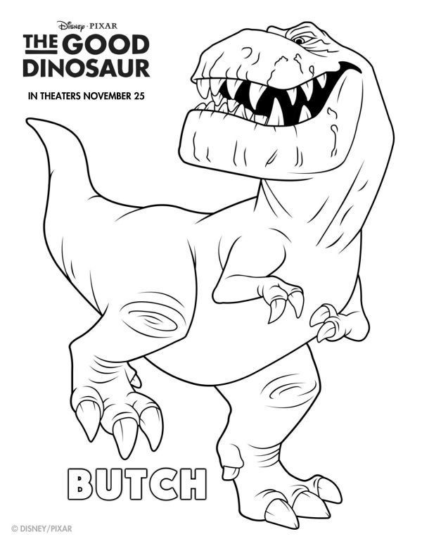 Disney The Good Dinosaur Free Printable Butch Coloring Page